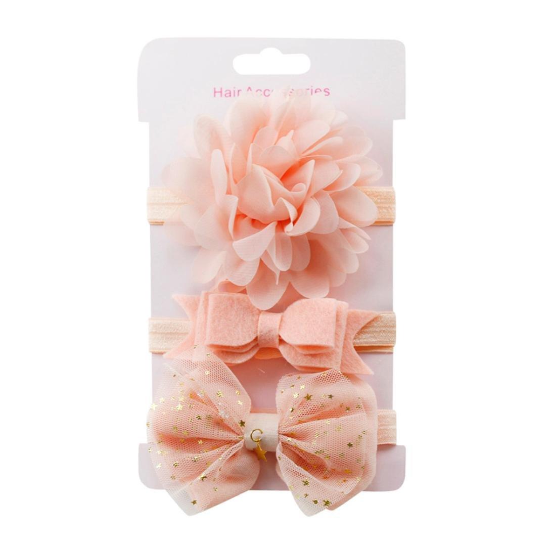 Mitlfuny 3 St/ück elastische Blumen Stirnband Baby Bowknot Haarband-Set Haargummi mehrfarbig gepunktet Schleife Deko Design Pferdeschwanz Haar Accessories 3 St/ück O