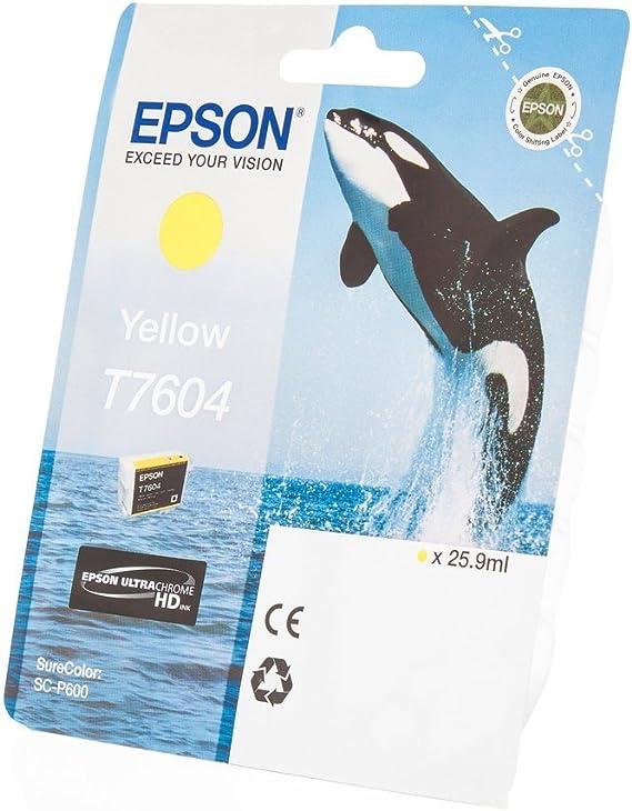 Original Epson C13t76044010 T7604 Für Surecolor Sc P 600 Premium Drucker Patrone Gelb 25 90 Ml Bürobedarf Schreibwaren