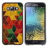 Samsung Galaxy E5 / SM-E500 , Luminous-Blue - Hard Plastic Back Case Cover Shell (Color Triangles)