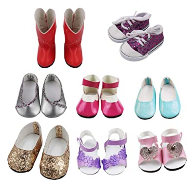 Aimee 8 Pairs 18 Inch Doll Shoes Set Including Sandals,Boots,Sneaker & Dressy Shoes for American Girl Doll Accessories - fits 18 inch Dolls: Toys & Games
