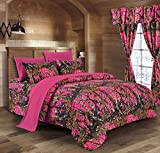 The Woods High Viz Pink Camouflage Queen 8pc Premium Luxury Comforter, Sheet, Pillowcases, and Bed Skirt Set by Regal Comfort Camo Bedding Set For Hunters Cabin or Rustic Lodge Teens Boys and Girls
