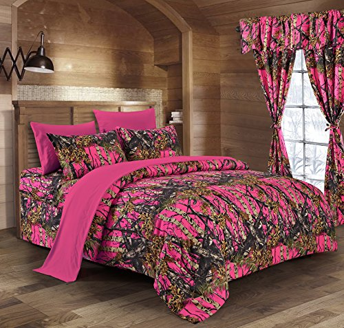 Regal Comfort The Woods High Viz Pink Camouflage King 8pc Premium Luxury Comforter, Sheet, Pillowcases, and Bed Skirt Set Camo Bedding Set for Hunters Cabin or Rustic Lodge Teens Boys and Girls