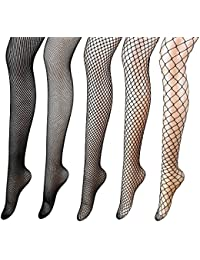 5 Pairs Fishnets Stockings Mesh Pantyhose Tights for Women Black High Elasticity