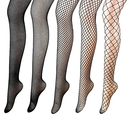 Luxina 5 Pairs Fishnets Stockings Mesh Pantyhose Tights for Women Black High (Big Hole Fishnet Pantyhose)
