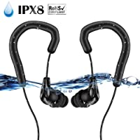AGPTEK IPX8 Waterproof Earbuds for Swimming, Wearable Headphones for Surfing, Running, Gym Workout, Short Cord with Ear Hook and 6 Pair Eartips