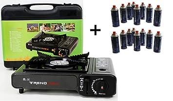 2 in1=Hornillo de gas + 12 cartuchos de gas gratis para camping hervidor botella