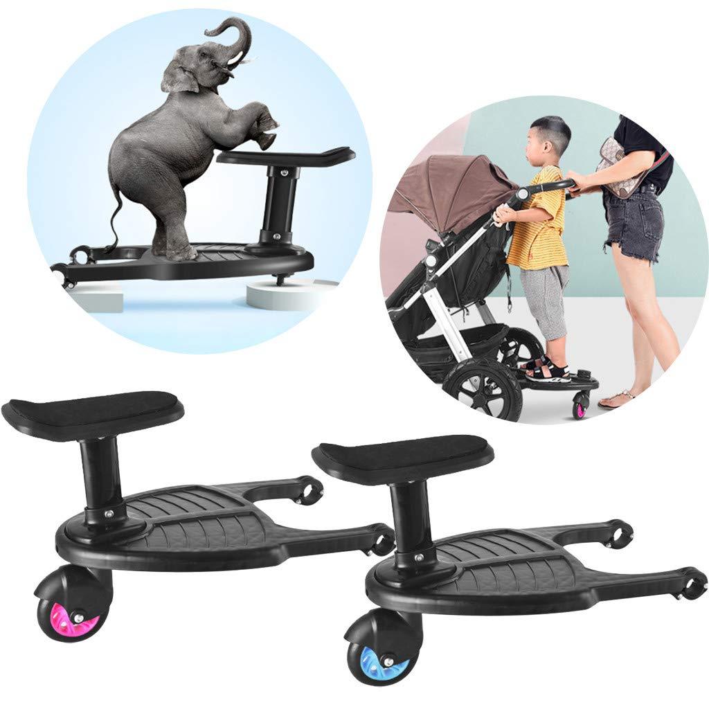 Buggy Board Buggyboard mit Sitz,Kinderwagen Board,Sitz Abnehmbar und Zusammenbauen,Kinder Sicherheit Komfort Trittbrett bis zu 25 kg Pink