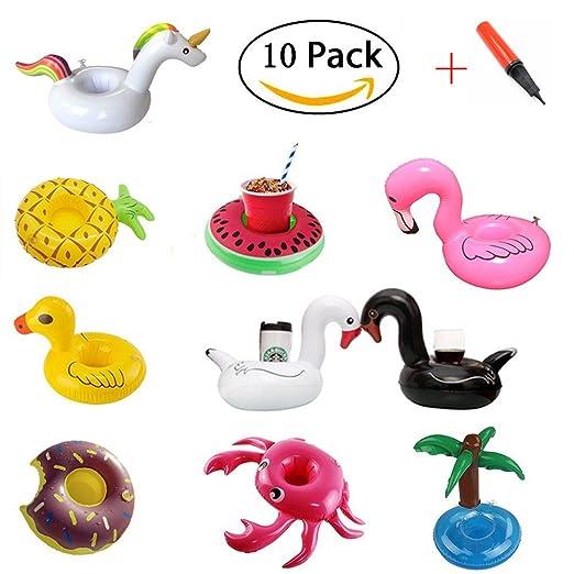 Portabotellas inflables Kalolary (10 paquetes) - flotadores beben posavasos inflables con bomba de aire para diversión acuática y juguetes para el baño para ...