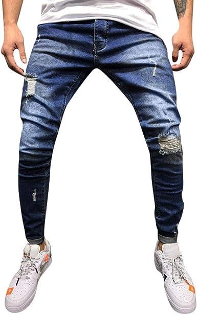 Pantalones Hombres Vaqueros Rotos Tefamore Hombre Jeans Pantalones ...