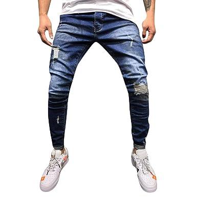 Pantalones Hombres Vaqueros Rotos Tefamore Hombre Jeans Pantalones Elásticos Skinny Slim Fit Delgados Pantalones Largos de Mezclilla de Cintura Baja ...