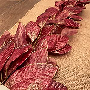 Factory Direct Craft Sparkling Poly Silk Burgundy Magnolia Leaf Swag | for Indoor Decor 118