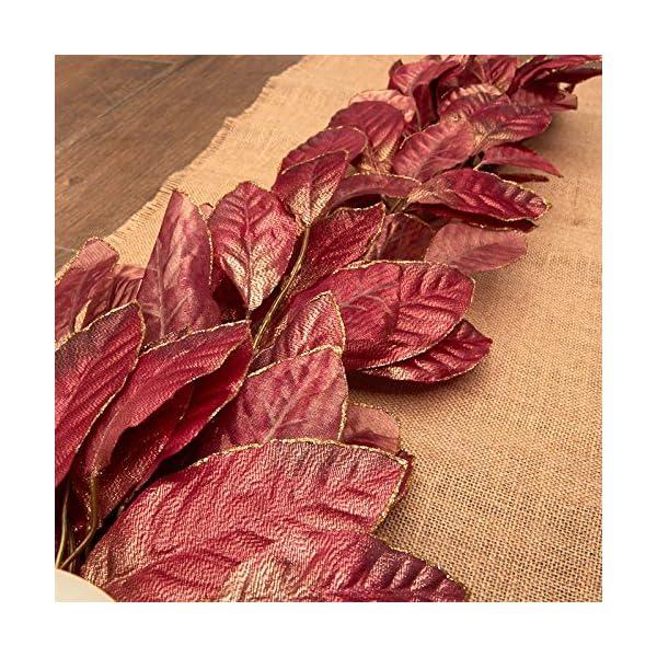 Factory Direct Craft Sparkling Poly Silk Burgundy Magnolia Leaf Swag | for Indoor Decor
