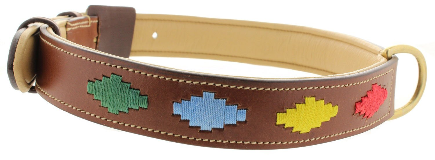 Aztec X-Large Aztec X-Large Viosi Leather Padded Dog Collar Made of Genuine Kingston Luxury Leather (X-Large, Aztec)
