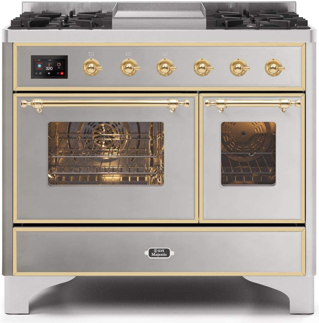 Ilve UMD10FDNS3SSG Majestic II Series 40 Inch Dual Fuel Convection Freestanding Range, 5 Sealed Brass Burners, 3.88 cu.ft. Total Oven Capacity in Stainless Steel, Gold Trim (Natural Gas)