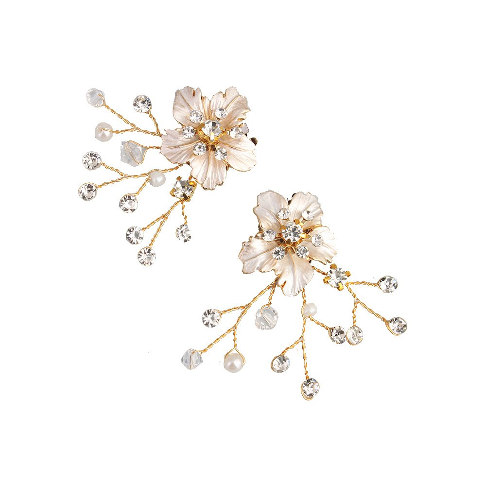1 Pair Handmade Rhinestone and Pearls Crystal Wired Shoe Clips Flower Shoe Buckles for Wedding Party