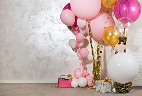 CSFOTO 8x6ft Background Colorful Balloons Gift on Floor Child Birthday Party Decor Photography Backdrop Gift Box