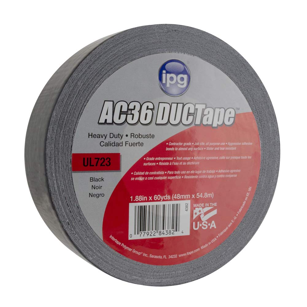1.88 x 20 yd Colored Duct Tape Black Single Roll IPG JobSite DUCTape