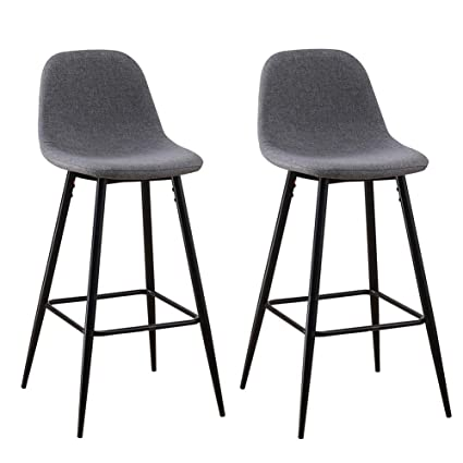 uk availability be33d 31185 Grey Bar Chairs set of 2 Linen Fabric Breakfast Bar Stools ...