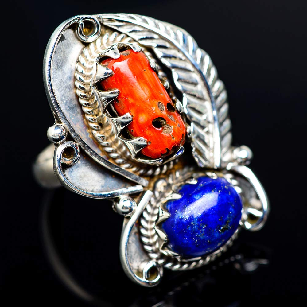 Bohemian Vintage RING944473 Handmade Jewelry Ana Silver Co Large Red Coral Lapis Lazuli 925 Sterling Silver Ring Size 7