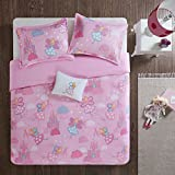 Twin/Twin XL Bedding for Girls - Elfie Kids Comforter Sets Twin - Pink Flying Princess Fairy and Castle - Cute girls bedding Sham Decor Pillow incl.