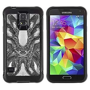 Suave TPU Caso Carcasa de Caucho Funda para Samsung Galaxy S5 SM-G900 / Hawk Owl Eagle Eye Feathers Wings / STRONG