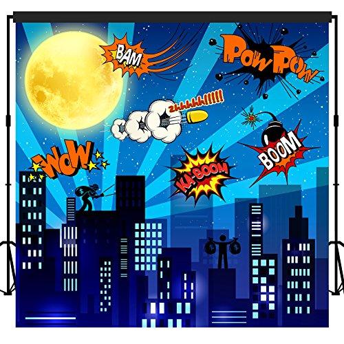 musykrafties Super Hero City Backdrop Banner Scene Setters 7x7 ft -
