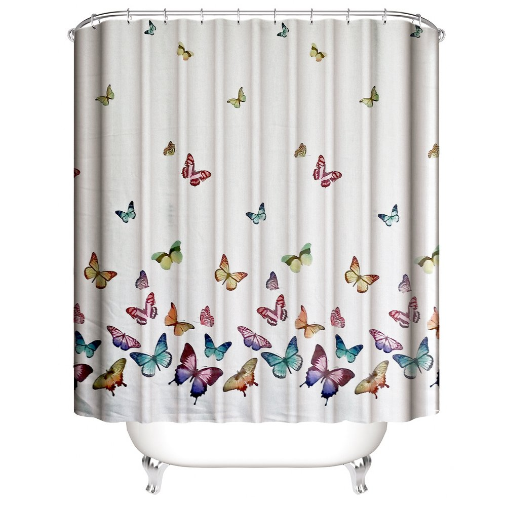 Amazon Muuyi Spring Summer Butterflies Shower Curtain Set Polyester Fabric Waterproof Curtains For Bathroom With 12 Ring Hooks