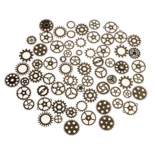 MonkeyJack 100g Assorted Sizes Steampunk Gears Charms Pendant Clock Watch Parts Wheel Gear Parts for DIY Jewelry Making (Ab. 68Pcs ) - Bronze from MonkeyJack