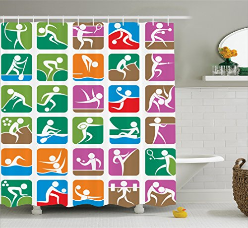 Decorations Ambesonne Pictograms Weightlifting Accessories