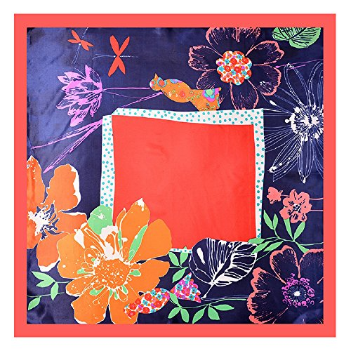 NUWEERIR Womens Large Satin Square Scarf Silk Feeling Hair Wrapping Gift Designer Scarf 35x35 Inches