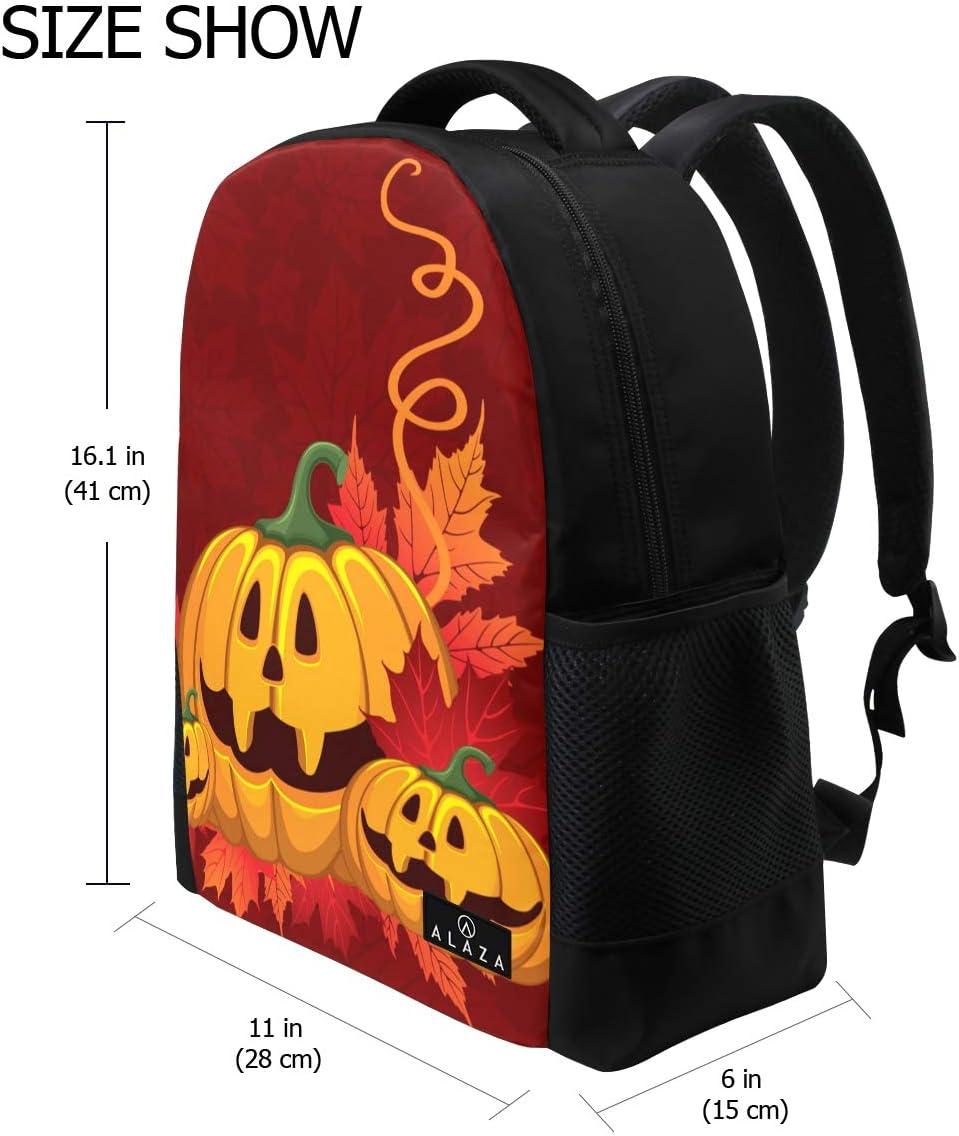 Halloween Pumpkin Laptop Backpack High School Bookbag Casual Travel Daypack