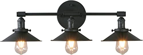 Phansthy Vanity Lights 3 Lights Wall Sconce with 7.87 Inches Metal Lamp Shade Matte Black