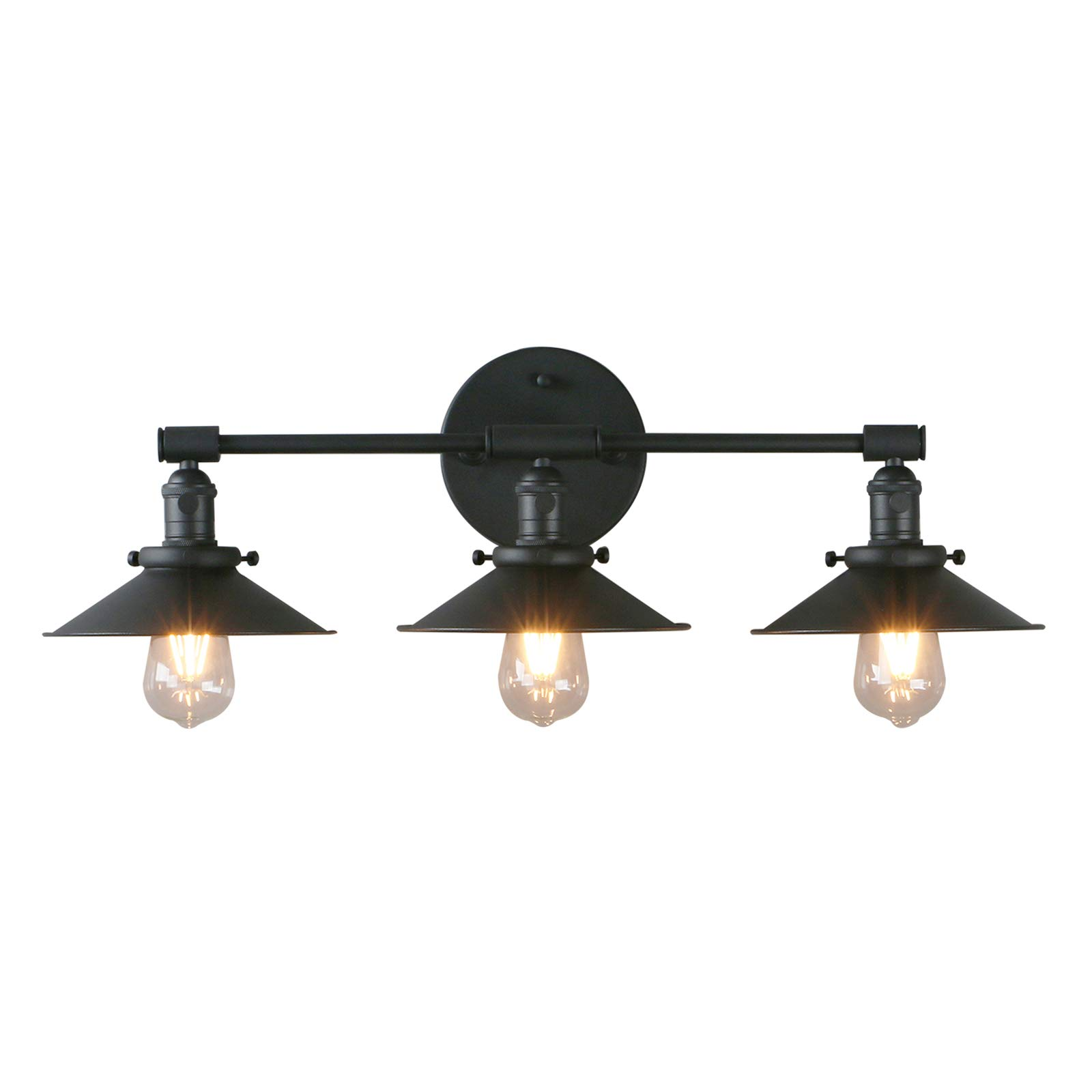 "Phansthy Vanity Lights 3 Lights Wall Sconce with 7.87""Metal Lamp Shade (Matte Black)"