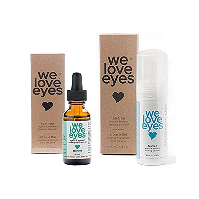 All Natural Tea Tree Eyelid Makeup Remover Kit(Makeup Remover Oil 30ml & Foaming Cleanser 40ml) Remove makeup, Moisturize, Wash Eyelashes. Blepharitis, Demodex, Dry Eyes Relief. Paraben & Sulfate Free