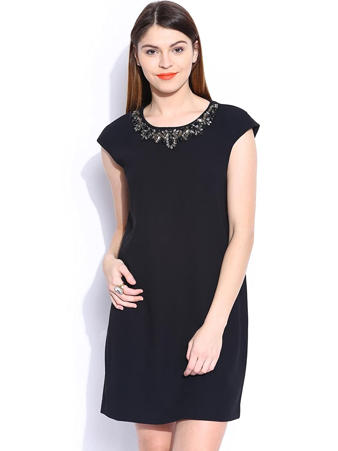 Women's Black Polyester Solid Sleeveless Casual Fit & Flare Dress