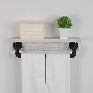 MBQQ Industrial Pipe Shelf,Rustic Wall Shelf with Towel Bar,19.7