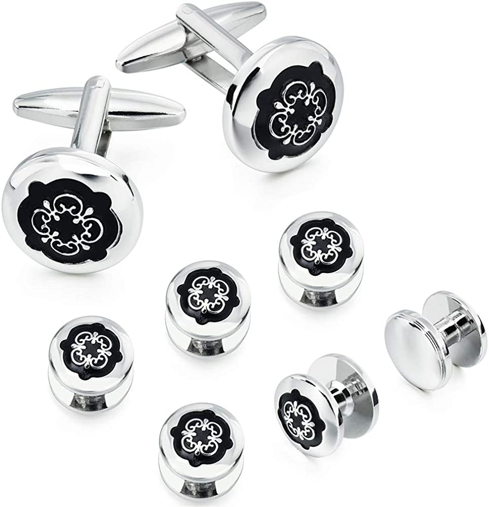 HAWSON Black Cufflinks Tuxedo Studs Set for Men - 2 Pcs Cufflinks with 6 Pieces Studs in Gift Box