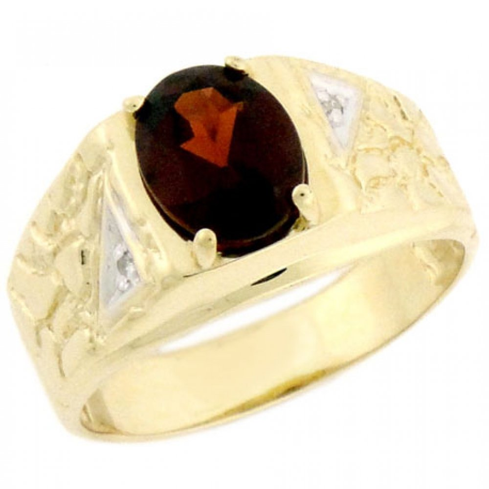 14k Solid Yellow Gold Garnet 0.04cttw Diamond Mens Ring