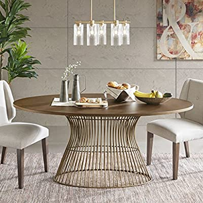 "INK+IVY Mercer Dining Oval Solid Wood Tabletop, Metal Wire Frame Base Mid-Century Modern Style Dinner Tables, 70"" Wide, Bronze - Add mid century modern to your dining room with the Mercer oval dining table. Inspired by the iconic 60's silhouette with a modern twist of golden bronze tops and antique bronze wire frames for an updated look. Seats 6. Table will be shipped in 2 cartons. Assembly required. Set Include:1 Dining Table:70Wx38.25Dx30H"" Leg Height:29.25"" Material Details:Birch veneer on MDF, Solid wire frame Wood/Metal Finish: Golden Bronze/Antique Bronze - kitchen-dining-room-furniture, kitchen-dining-room, kitchen-dining-room-tables - 61rSXfPgVYL. SS400  -"