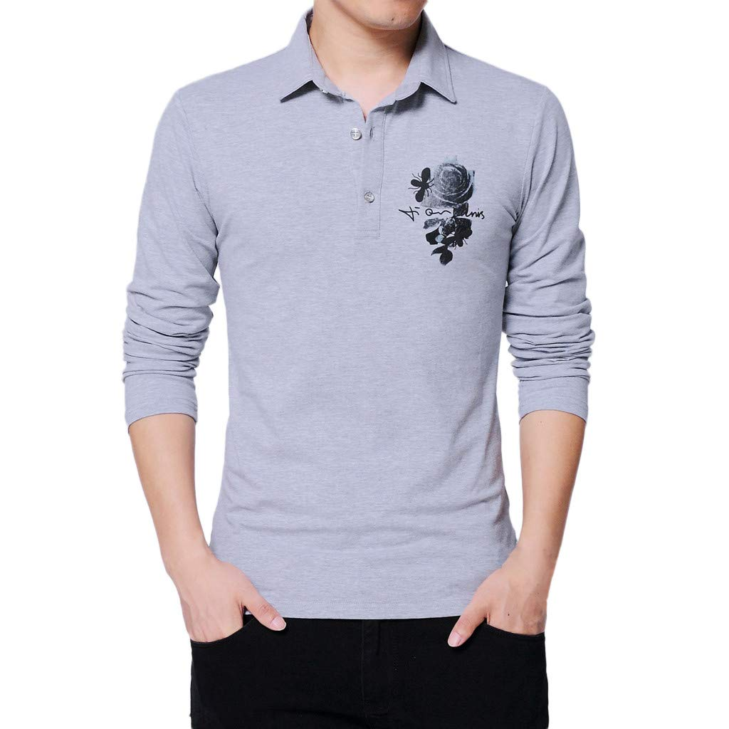 GREFER Men's Polo Shirt Fashion Printing Long Sleeved Lapel Plus Size Tee Tops Blouse Gray by GREFER