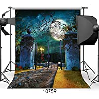SJOLOON 5x7ft Halloween Vinyl Photo Backdrop Photography Background Moon Night Backdrop for Children Backdrops10759
