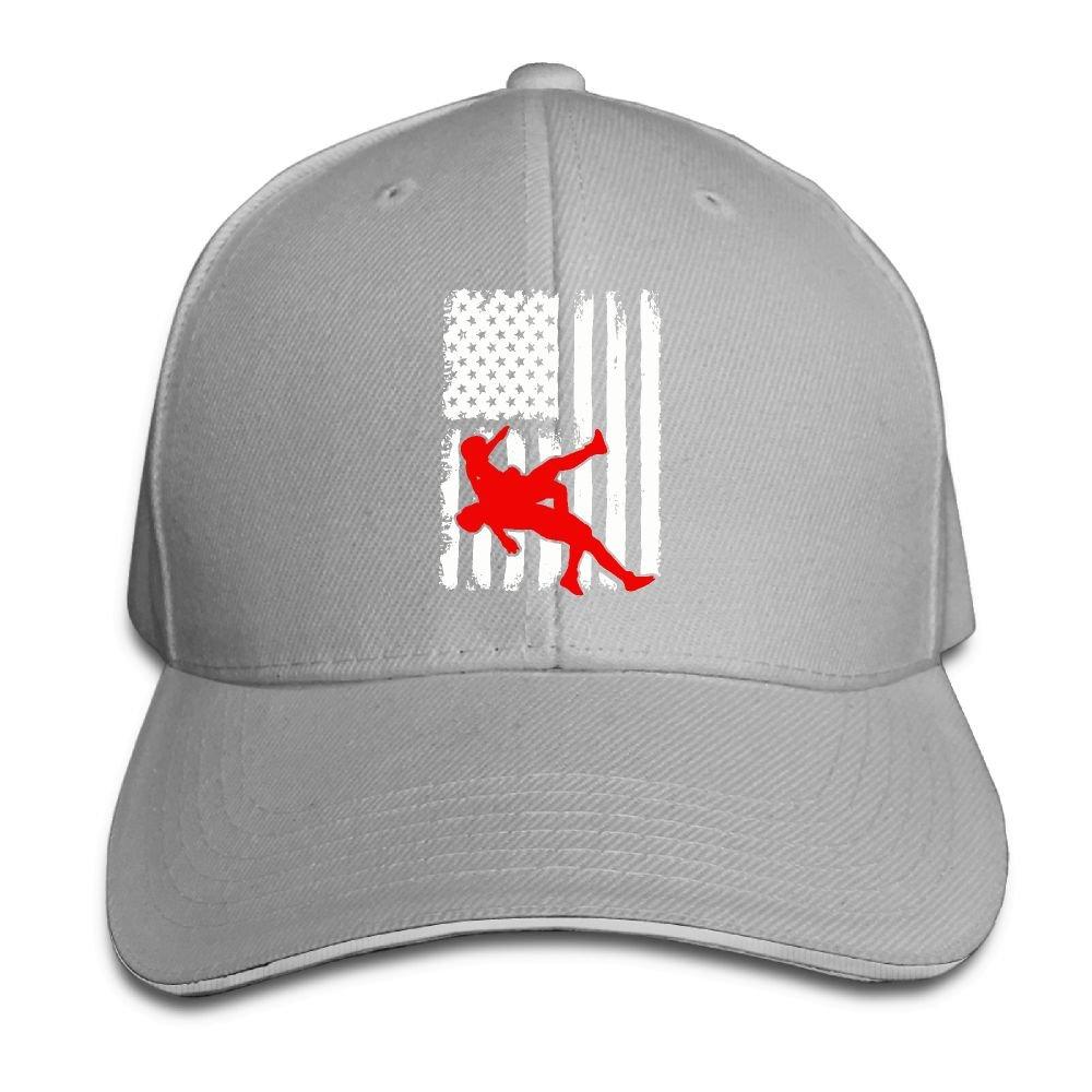 Youbah-01 Women's/Men's USA Flag Wrestling Adult Adjustable Snapback Hats Trucker Cap by Youbah-01