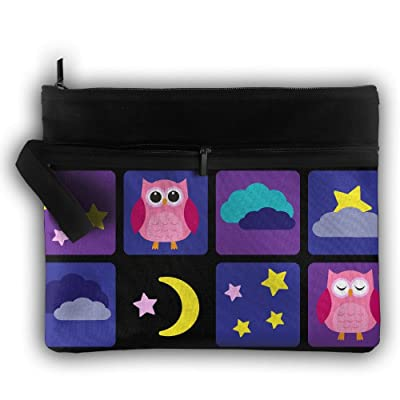 Cute Owl,Outer Space Birthday Cute Trip Toiletry Bag Travel Receive Bag Cosmetic Case