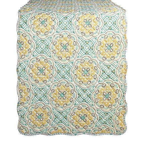 Waverly Quilted Floral Medallion Table Runner Astird /Light Teal and Yellow 14