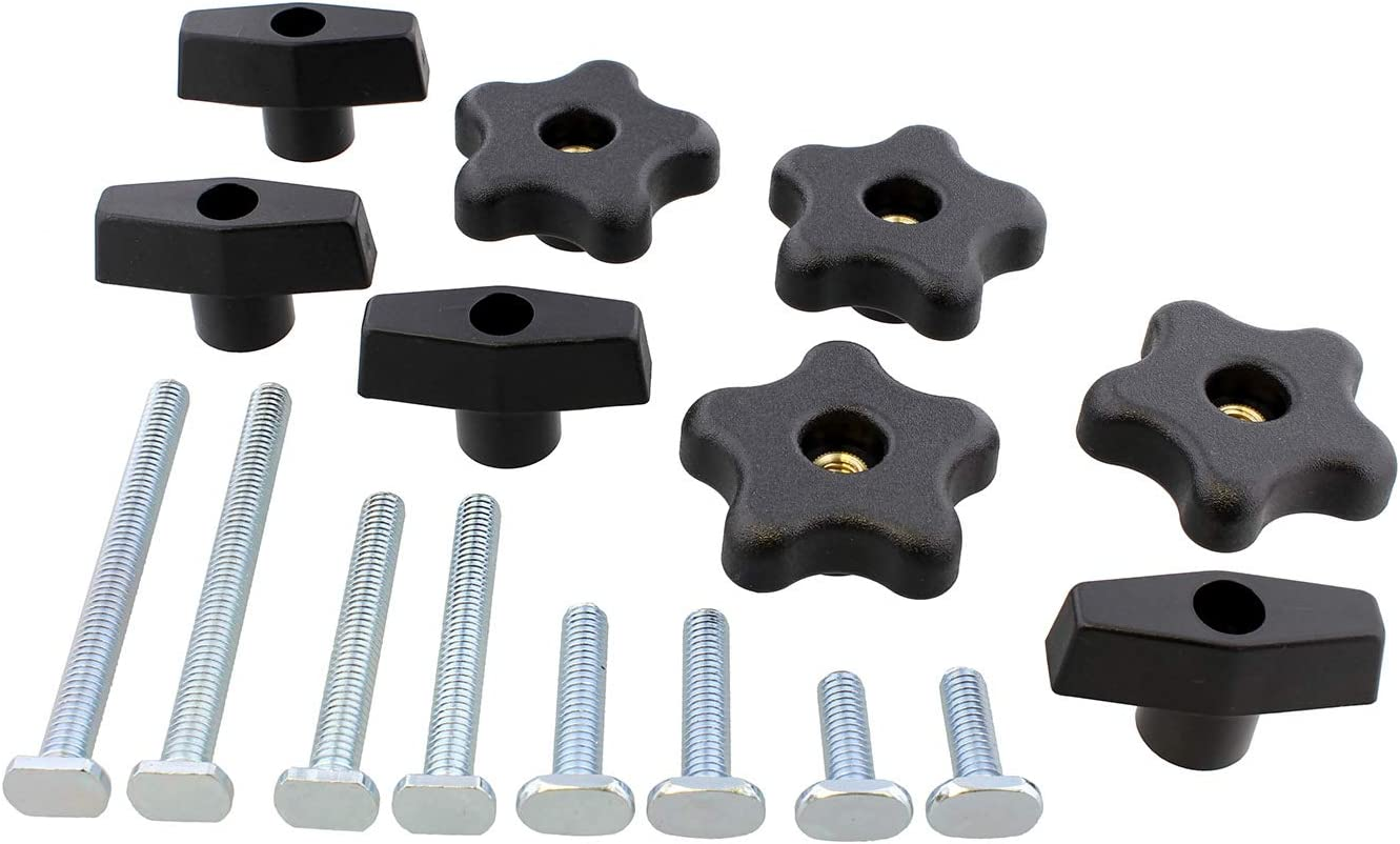 Dct Jig Hardware Kit 16 Pc Woodworking Hardware For Universal T Track And Woodworking Jigs T Track Knobs And Bolts Amazon Com