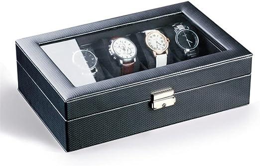 La caja de reloj superior de fibra de vidrio negra tiene 10 relojes ...