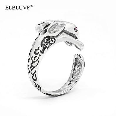 ELBLUVF 925 Sterling Silver Rabbit Animal Ring Gift for Friend Everyday Wear W0vh4qej