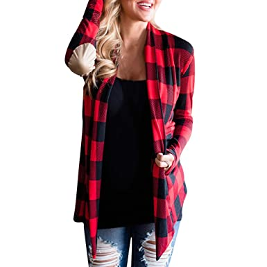 7dae7a161f704 Teresamoon Plaid Cardigan Women Casual Coat Loose Blouse Jacket at ...