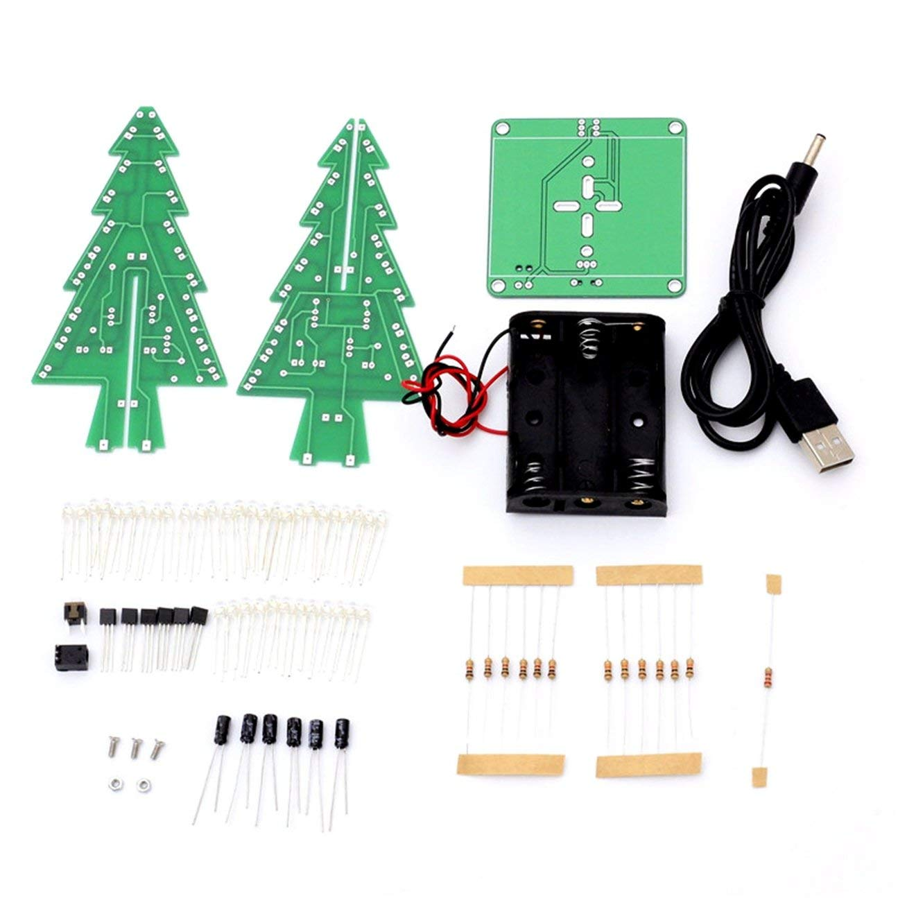 Decoraci/ón electr/ónica LED Flash Circuit Parts /Árbol de Navidad 3D /Árbol LED DIY Kit materiales respetuosos con el medio ambiente multicolor mezclado multicolor mezcla