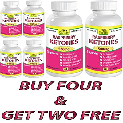 6x Raspberry Ketones Pure & Fresh 500mg Ketone Plus - 60 Vegetarian Caps, Fast Metabolism Diet Pills - Best Max Burn & Lose Fat Quickly Healthy Dieting Pills Proven for Rapid Weight Loss That Works Naturally Fast - Safely Simply Slim At Home with No Side